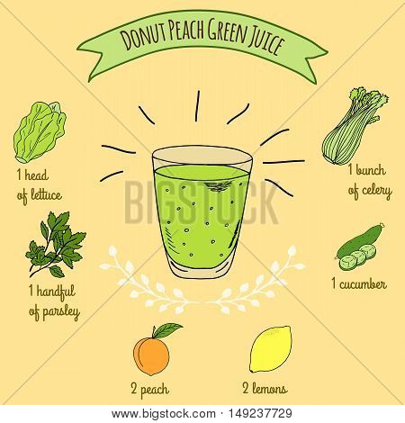 Hand drawn sketch illustration. Recipe and ingredients of healthy energy drink for restaurant or cafe. Vegan Detox drinks. Gluten free drinks. Vegetarian Smoothie Recipe. Peach Green Juice.