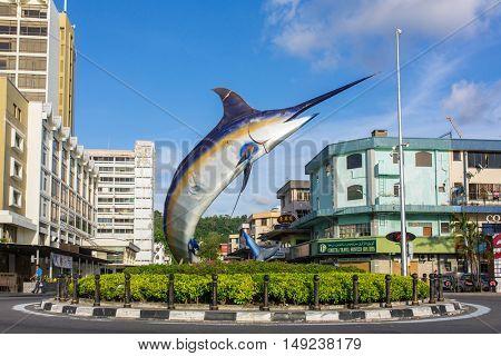 Kota Kinabalu - June 8, 2016: Marlin statue in Kota Kinabalu, Malaysia