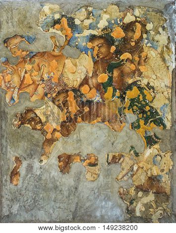 AJanta caves, India - March 3, 2016: Painting inside the Ajanta caves, India