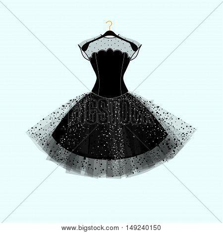 Black dress. Party dress. Vector fashion illustration