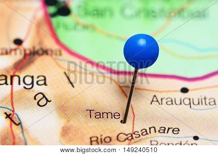 Tame pinned on a map of Colombia