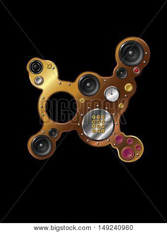 strange multifunction device, vector illustration for web site and printing