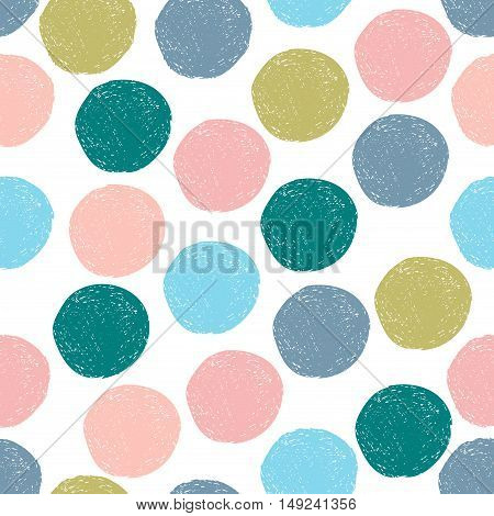Colorful cute blue, green, pink, blue, gray random grunge polka dot seamless pattern. Sketch circle on white background. Abstract round seamless, wallpaper. Vector illustration.