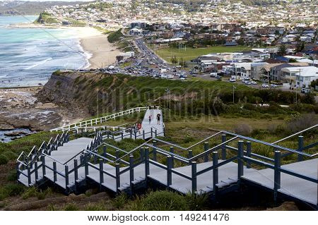 Anzac Memorial Walk leading down to Bar Beach, Newcastle, Australia.