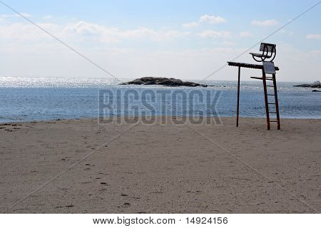 Life Guard Chair With an Ocean Background
