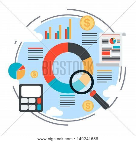 Business report, planning, financial analysis, business statistics, information search flat design style vector concept