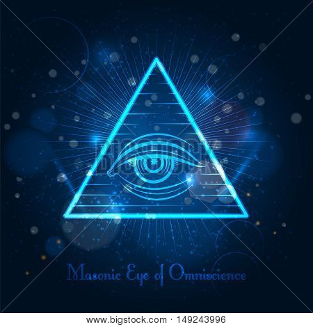 Masonic eye of Omniscience on blue shining background. Vector illustration