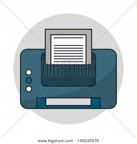 Printer with paper icon. Gadget technology and device theme. Isolated design. Vector illustration