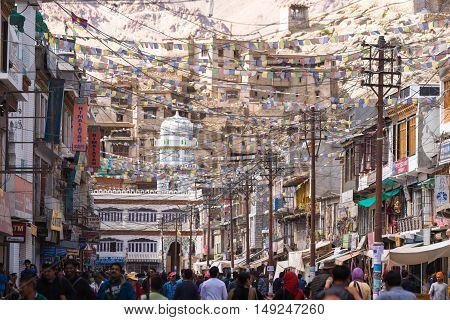 19 JULY 2016, LEH - INDIA : Leh city walking street view with many shop and visitors from around the world on 19 Jul 2016.