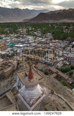 Panorama city view of Leh city in Leh Ladakh