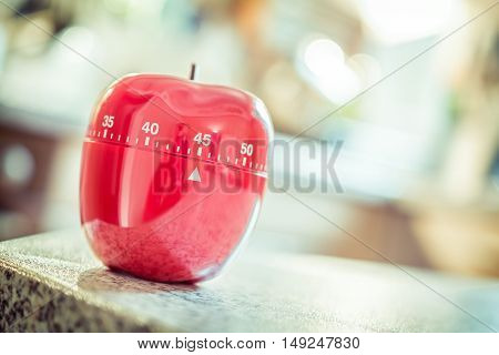 45 Minutes - Red Kitchen Egg Timer In Apple Shape