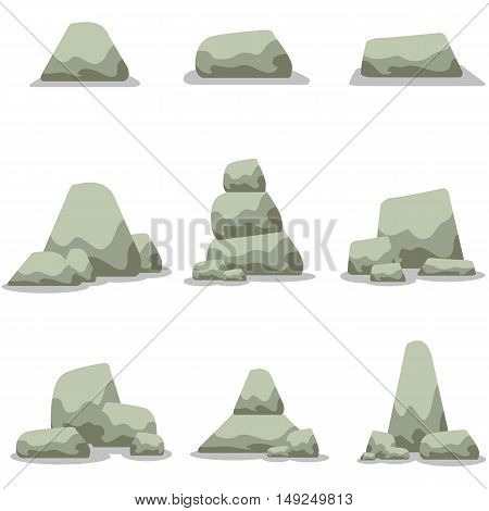 Stone set collection stock vector art illustration