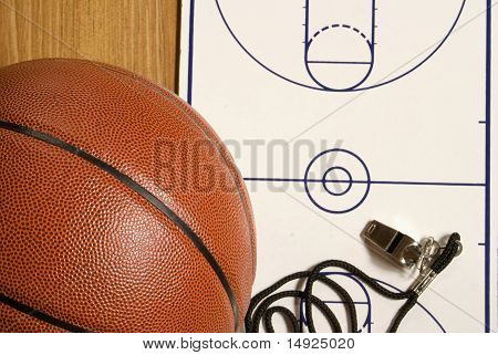 Basketball, Whistle And Blank Clipboard