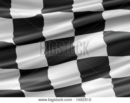 balck and white checkered racing flag waiving detail poster