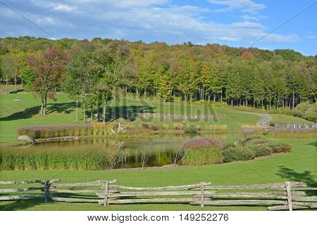 Early fall landscape eastern township Bromont, Quebec, canada