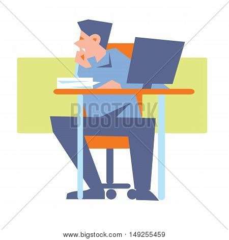 Young bewildered employee sitting at table with computer in office. Working process banner, isolated vector illustration on white background. Office life. Workflow concept. Human resource.
