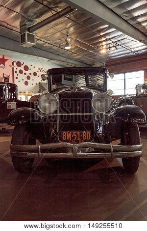 El Segundo, CA, USA - September 26, 2016: 1929 Hupmobile displayed at the Automobile Driving Museum in El Segundo, California, United States. Editorial use only.