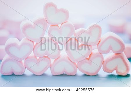 Pink heart shape marshmallow for love theme and Valentine concept. You can apply for love background, love wallpaper, day of love and everything about love for your design.