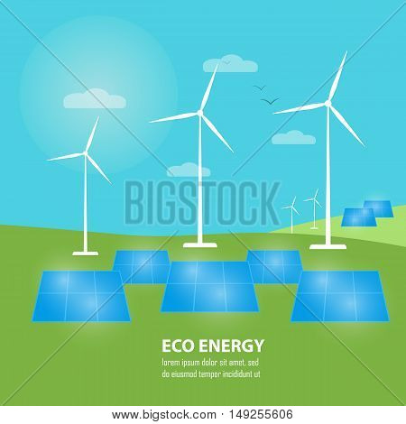 Eco energy vector illustration. Power plant using renewable solar energy with sun and wind turbine. Renewable resources. Production of energy from the sun and wind. Ecological types of electricity.