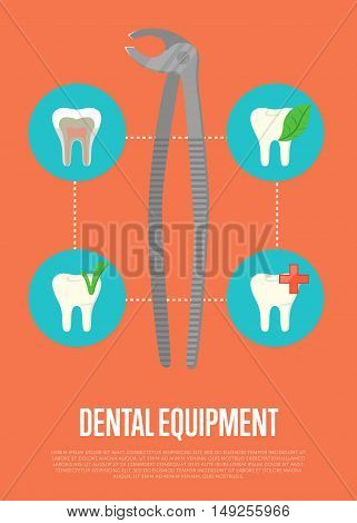Dental tools infographic with tooth icon and special dental tools instrument. Dentist tools. Dental treatment concept. Tooth care and restoration. Dentist office equipment. Healthcare equipment. Poster for dentist office or dentist ad. Dental care concept poster