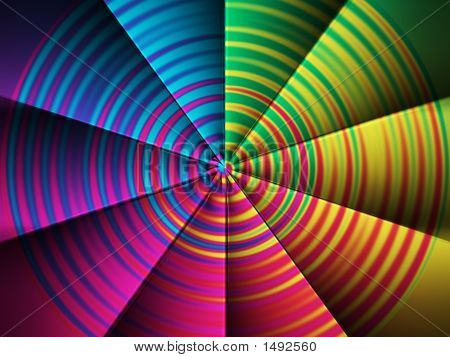 Computer generated abstract color fan. Color spectar circle. poster