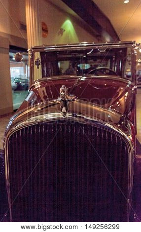 El Segundo, CA, USA - September 26, 2016: This 1932 Plymouth Town Car by Brewster belonged to Franklin D. Roosevelt and Eleanor Roosevelt. It is displayed at the Automobile Driving Museum in El Segundo, California, United States. Editorial use only.