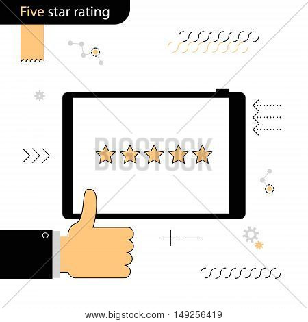 Five Star rating. Gesture of approval rating. Linear flat design on a white background