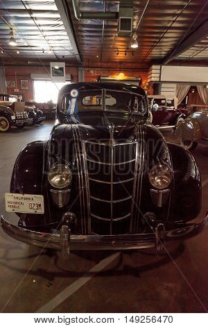 El Segundo, CA, USA - September 26, 2016: 1935 Chrysler Airflow displayed at the Automobile Driving Museum in El Segundo, California, United States. Editorial use only.