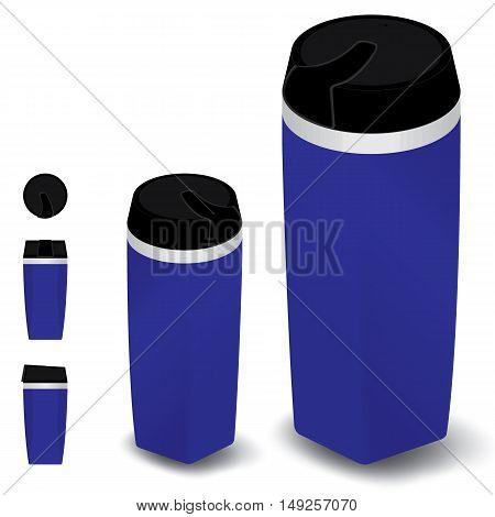 Thermos bottle set on white background. Blue Thermos bottle set.