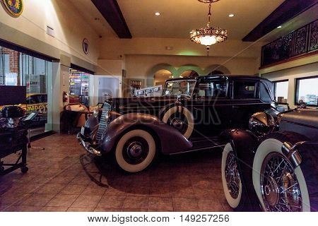El Segundo, CA, USA - September 26, 2016: 1936 Lincoln V12 Towncar displayed at the Automobile Driving Museum in El Segundo, California, United States. Editorial use only.