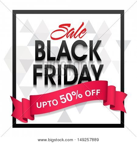 Black Friday Sale Poster, Banner or Flyer design with Discount Upto 50% Off and glossy Ribbon. Vector Illustration.
