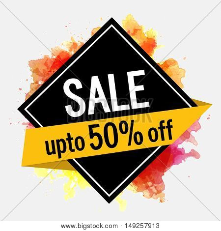 Sale Sticker, Tag or Label with yellow 50% Discount Banner, Can be used as Poster, Banner or Flyer design.