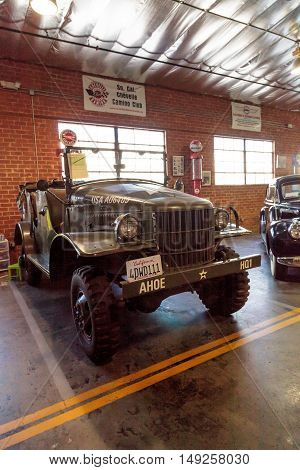 El Segundo, CA, USA - September 26, 2016: 1941 Military Dodge Command Car displayed at the Automobile Driving Museum in El Segundo, California, United States. Editorial use only.