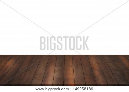 Wood Shelves on isolated white background Shelves for display products and sale goods.