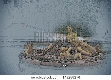 golden statue of flora in Versailles Palace garden, France. Vintage painting, background illustration