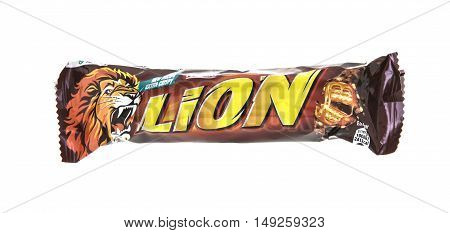 SWINDON UK - SEPTEMBER 10 2016: Lion bar isolated on a white background. Lion is a chocolate bar confection by Nestle