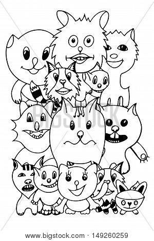 Set of cute cat cartoon. Vector illustration of funny Monochrome cat. Hand drawn art sketch cat.