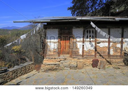 Typical Bhutanese architecture in central Bhutan. Asia