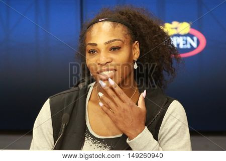 NEW YORK - SEPTEMBER 1, 2016: Twenty two times Grand Slam champion Serena Williams of United States during press conference at the Billie Jean King National Tennis Center during US Open 2016