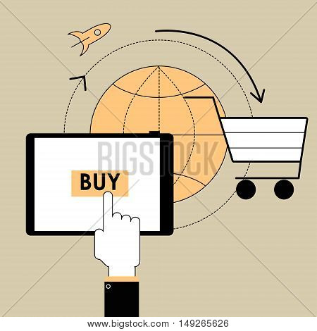 Flat line design vector illustration poster product concept of buying through an online store on the tablet. E-commerce and trade items