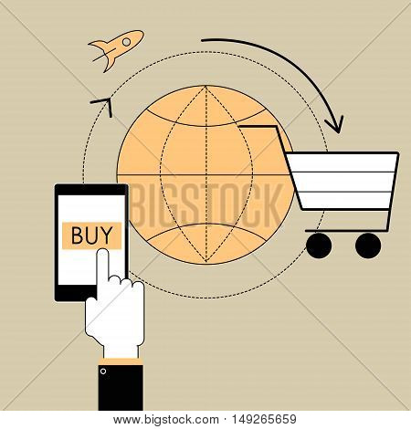 Flat line design vector illustration poster concept of buying the product through an online store. E-commerce and trade items