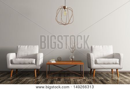 Interior of living room with coffee table white armchairs and copper lamp 3d rendering