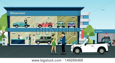 Employees wholesale car keys to the buyer at the showroom.