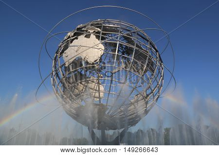 NEW YORK - AUGUST 23, 2016: 1964 New York World's Fair Unisphere in Flushing Meadows Park. It is the world's largest global structure, rising 140 feet and weighing 700 000 pounds