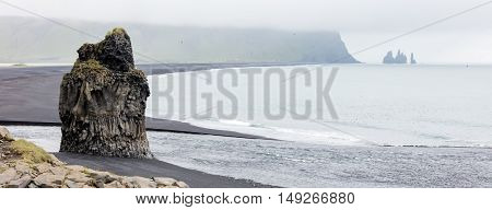 Big Rock On The Black Beach, Iceland