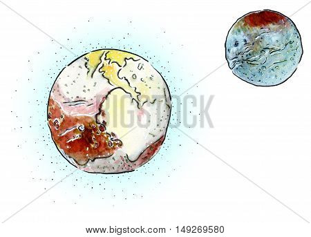 Hand drawn color mixed media sketch of a Charon and Pluto planet with atmosphere and its satellite illustration on white background