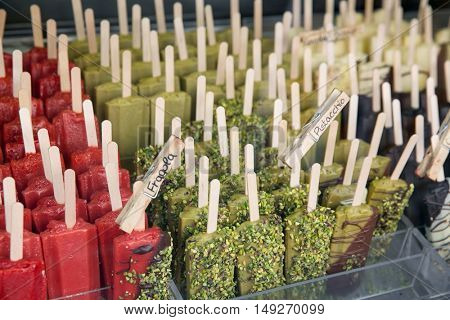 Many ice lollies, different flavors