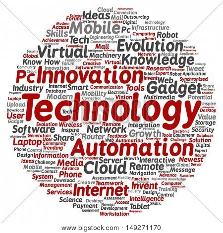 Vector concept or conceptual digital smart technology square word cloud isolated on background metaphor to information, innovation, internet, future, development, research, evolution or intelligence