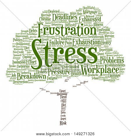 Vector concept conceptual mental stress at workplace job abstract tree word cloud isolated on background metaphor to health, work, depression, problem, exhaustion, breakdown, deadlines, risk, pressure
