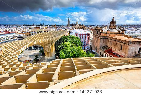 Seville Spain. Aerial view from the Space Metropol Parasol (Setas de Sevilla) the best view of the city for city in Andalusia.